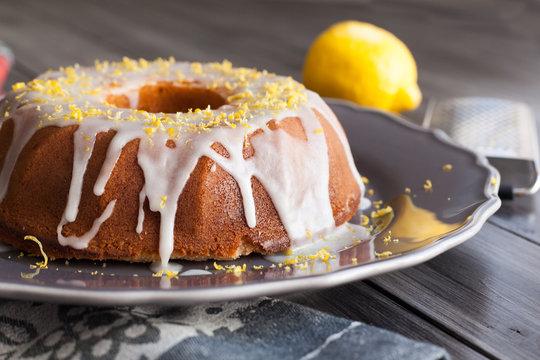 Homemade lemon cake with icing