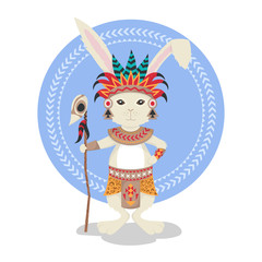 Vector illustration of rabbit or bunny shaman.