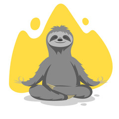 Vector illustration of happy cute sloth practicing yoga exercise