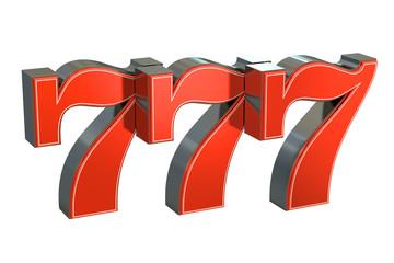 777 Lucky jackpot symbol, 3D rendering