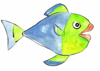 watercolor painted fish