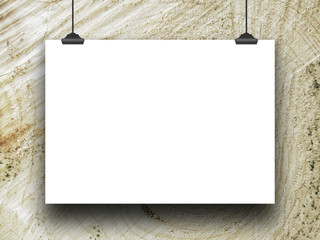 Close-up of one blank poster frame hanged by clips against tree trunk background