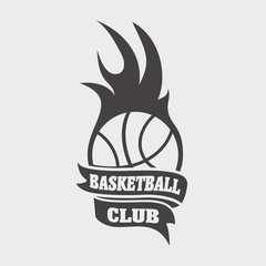 Basketball club sign or icon with ball and fire flame. Fireball symbol on white background