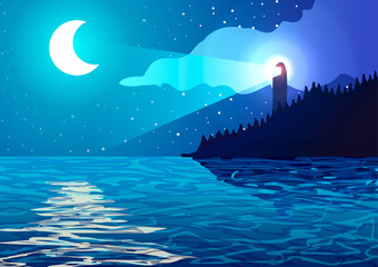 Vector illustration. Lighthouse on the coast of the ocean at night.