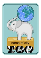 Zoo emblem or advertising template with little elephant baby carrying globe on his back, inscription ZOO in zebra skin design.