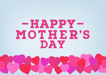 Happy Mother's day inscription on blurred soft background. Celebration greeting card design template.