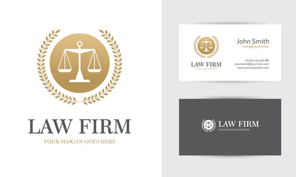 Golden law logo with scales
