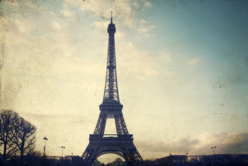 Vintage photo of the Eiffel Tower