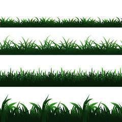 Wall Mural - Green seamless grass borders vector set