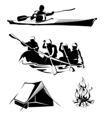 Vector camping rafting labels, logos, emblems