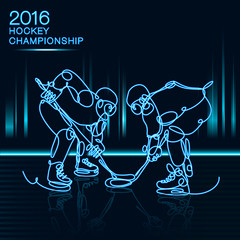 2016 Hockey Championship concept art made of one line neon effect / competition
