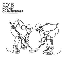 2016 Hockey Championship concept art made of one line / competition