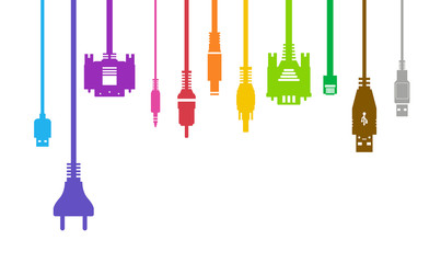 Plug Wire Cable Computer colorful illustration