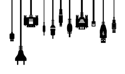 Cable wire and electric plug collection - silhouette illustration