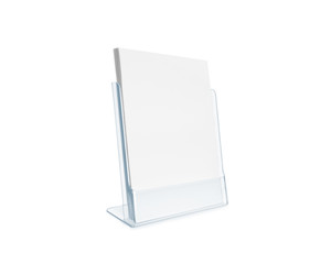 Blank flyer mockup glass plastic transparent holder isolated.