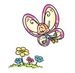 Butterfly flight flower cartoon illustration  animal character