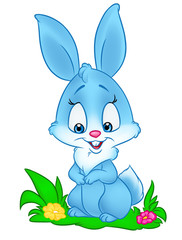 Blue Bunny cute  isolated image animal character