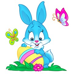 Blue Bunny Easter holiday egg card   isolated image animal character cartoon illustration