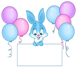 Blue Bunny tablet form congratulation celebration balloons isolated image animal character