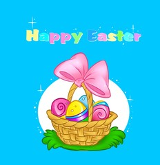 card Easter egg basket gift cartoon illustration