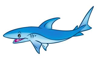 Reef shark predatory fish cartoon illustration isolated image animal character