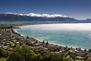 Kaikoura township with clearing morning fog. South Island,New Zealand
