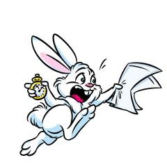 White Rabbit Alice be late clock time cartoon illustration isolated image animal character