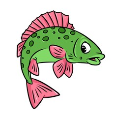 Fish crucian cartoon illustration isolated image animal character