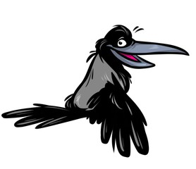 Crow gray bird cartoon illustration isolated image animal character