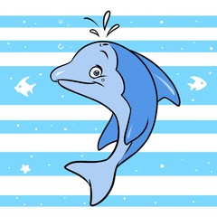 Funny blue dolphin background stripe  cartoon illustration animal character