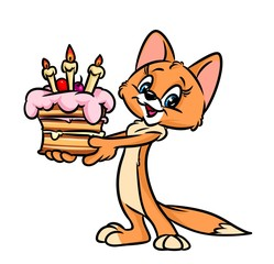Cake cat birthday cartoon illustration isolated image animal character