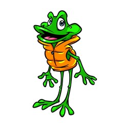 Frog vest beach lifeguard cartoon illustration isolated image animal character