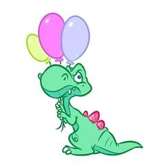 Dinosaur green air balloons cartoon illustration isolated image animal character