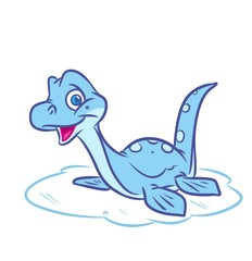 Dinosaur marine plesiosaur  cartoon illustration isolated image animal character