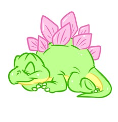 Dinosaur Little Stegosaurus green cute sleeps  cartoon illustration isolated image animal character