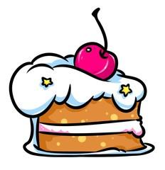 Piece cake berry cherry cartoon illustration