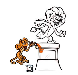 Monkey joke painting lion statue cartoon illustration isolated image animal character