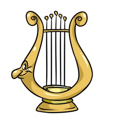 Magical musical lyre cartoon illustration character