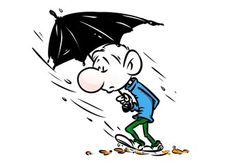 Man Autumn rain umbrella cartoon illustration character