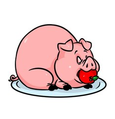 Pig tray apple cartoon illustration isolated image animal character