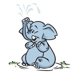 Elephant fountain bathed cartoon illustration animal character