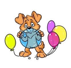 Dog holiday inflates balloons cartoon illustration isolated image animal character