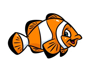 Clown fish cartoon illustration isolated image animal character