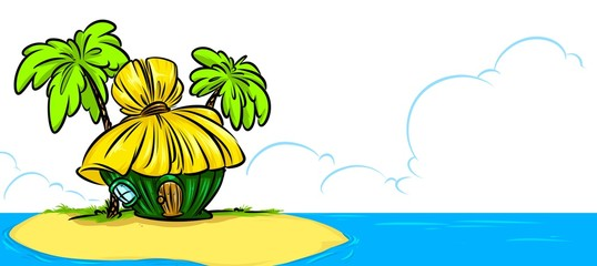 Tropical Island Bungalow ocean cartoon illustration