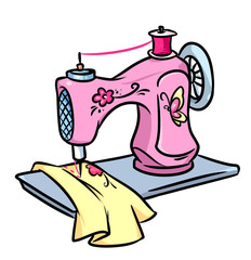 Sewing machine cartoon illustration
