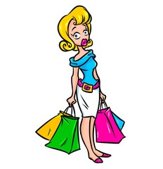 Girl shopping cartoon illustration character