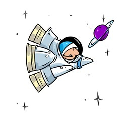 Rocket space flight astronaut  cartoon illustration