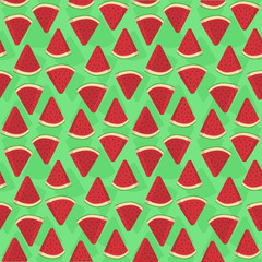 Seamless pattern vector illustration of watermelon fruit triangle slice bite in green background.