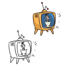 Retro TV speaker cartoon illustration