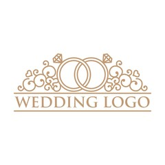 Love And Ring Line Art Wedding Logo